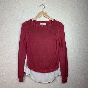 LOFT knit sweater w/ faux shirt underneath